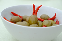 Olives stuffed with chillies